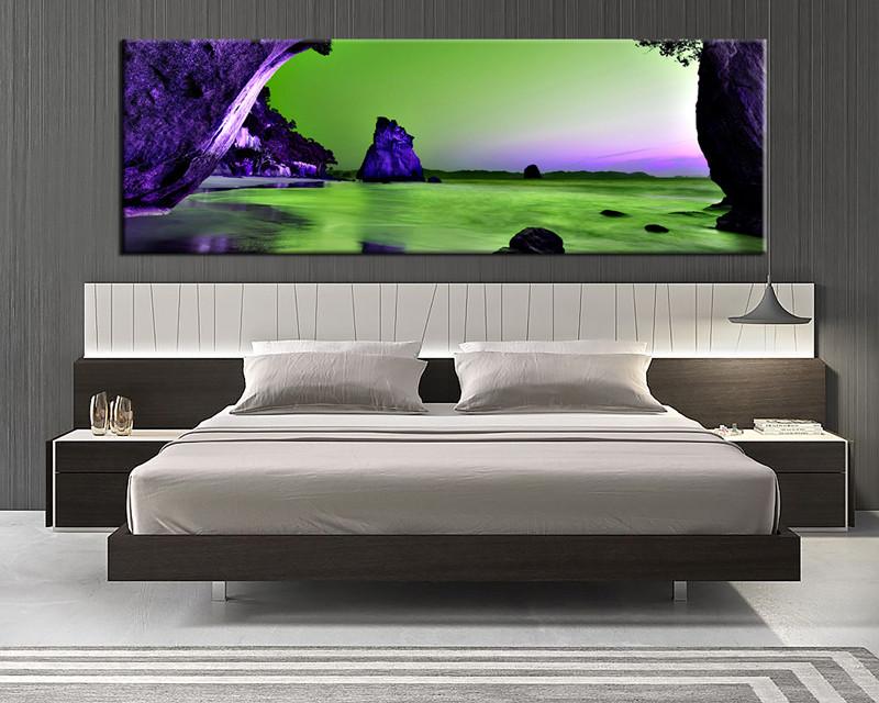 bedroom decor1 piece canvas wall art ocean multi panel canvas ocean purple & 1 Piece Huge Canvas Purple Mountain Green Ocean Artwork