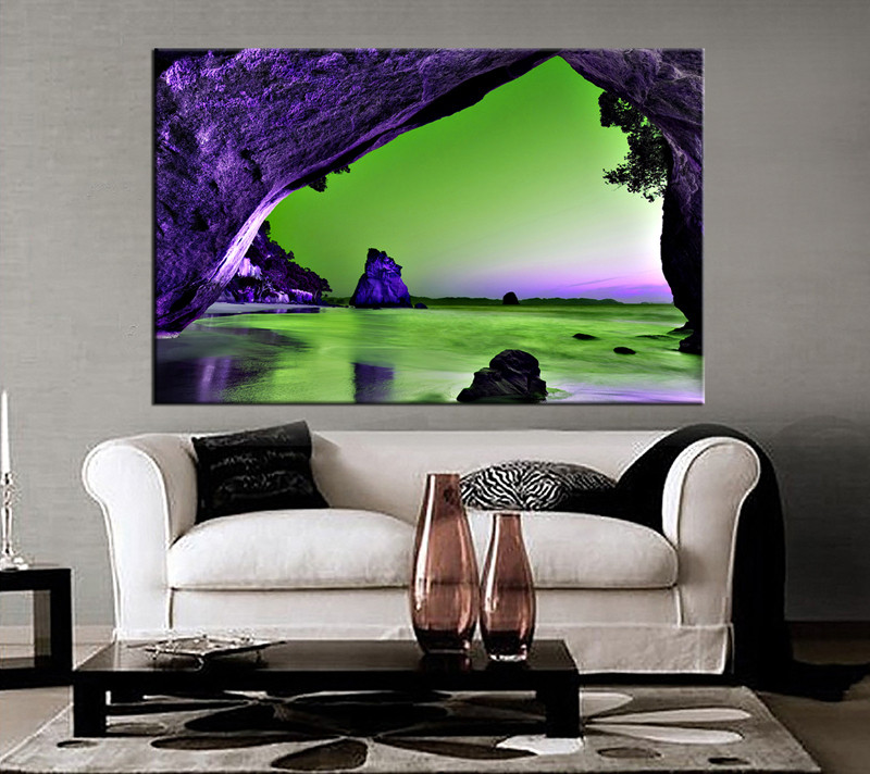 Beachy Living Room Big On Wall Decor: 1 Piece Green Ocean Huge Canvas Purple Mountain Wall Art