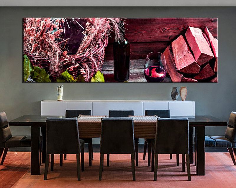 1 piece wine wall decor red photo canvas for Red dining room wall art
