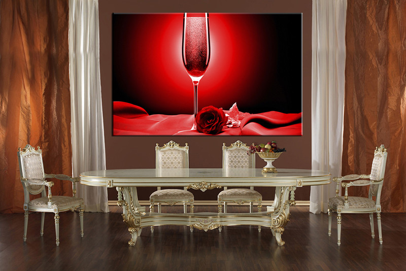 1 Piece Large Pictures, Dining Room Wall Decor, Red Wine Group Canvas, Wine Part 51