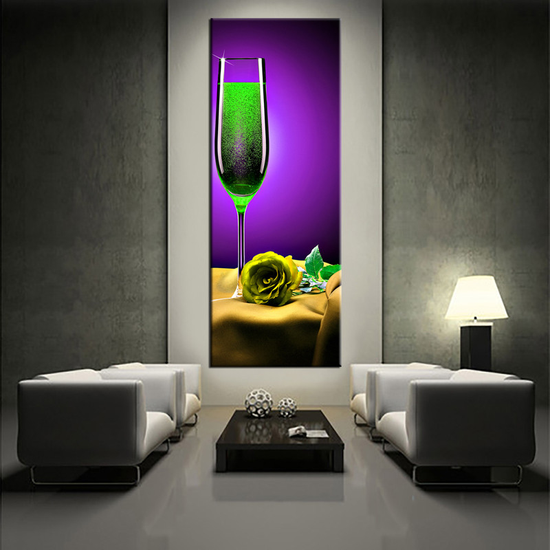 1 piece yellow rose wine purple canvas prints. Black Bedroom Furniture Sets. Home Design Ideas