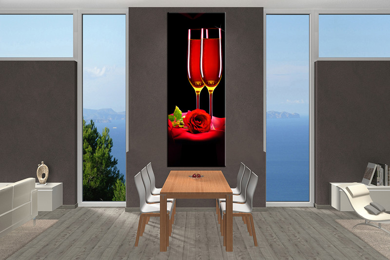 1 Piece Canvas Wall Art, Wine Canvas Print, Wine Red Art, Dining Room