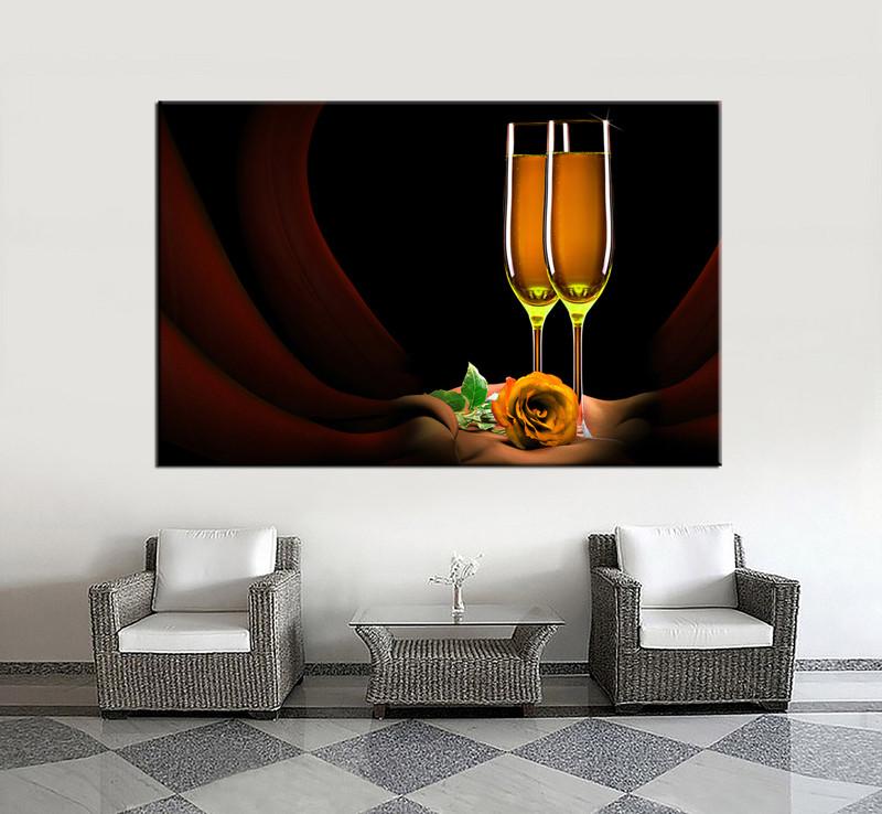 1 Piece Brown Huge Canvas Art Wine Wall Decor