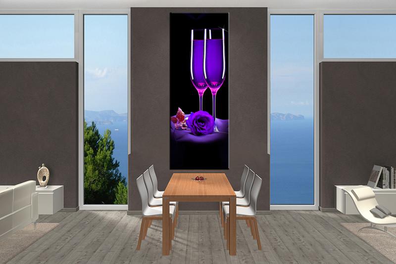 Wine Wall Art 1 piece purple canvas photography rose wine wall art