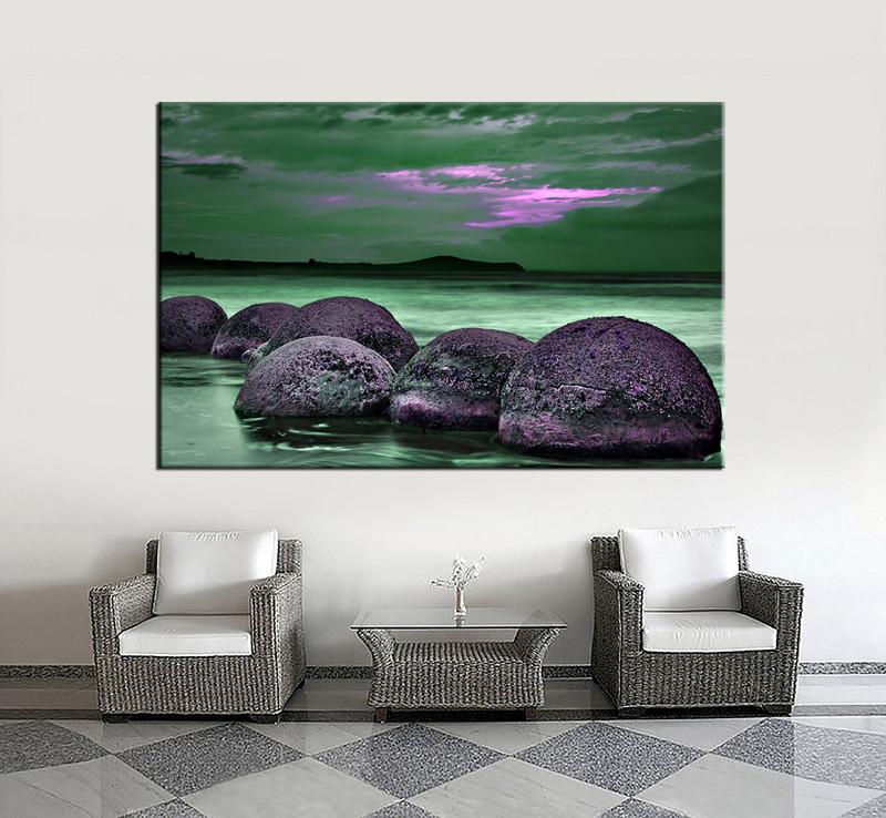 1 Piece Green Photo Canvas Ocean Rock Wall Art