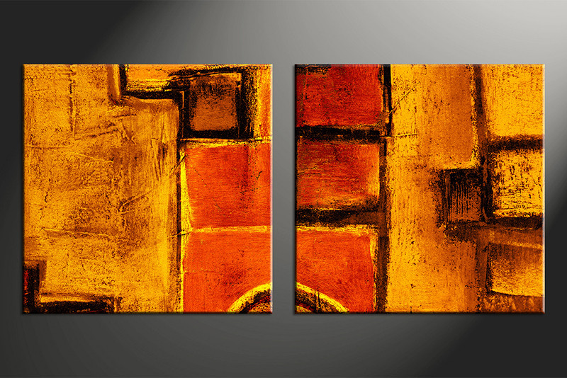 Large Abstract Wall Art 2 piece canvas orange abstract wall art