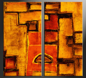 home decor, 2 piece canvas art prints, orange abstract photo canvas, abstract canvas print,  abstract large canvas