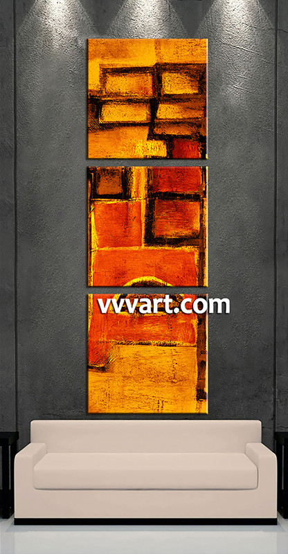 Large Abstract Wall Art 3 piece canvas orange abstract pictures