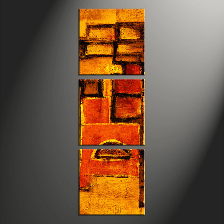 3 piece canvas orange abstract pictures for Vertical wall art