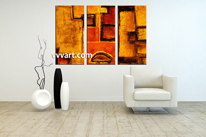 Large Abstract Wall Art 3 piece orange abstract multi panel art