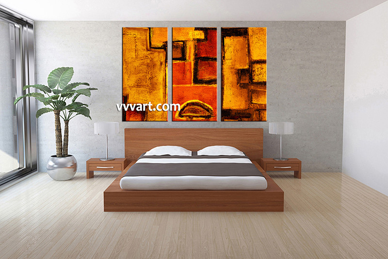 Lovely 3 Piece Canvas Wall Art, Bedroom Art Print, Abstract Large Canvas, Orange  Abstract