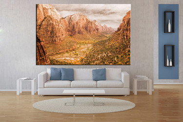 1 piece wall art, landscape multi panel art, landscape large canvas, brown mountain huge pictures, living room photo canvas