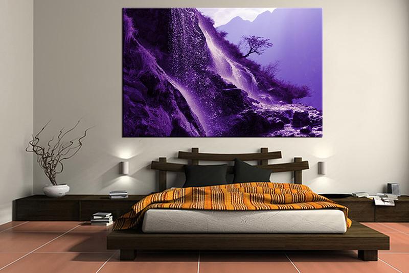 1 Piece Canvas Wall Art Bedroom Art Print Landscape Large Canvas Purple Mountain