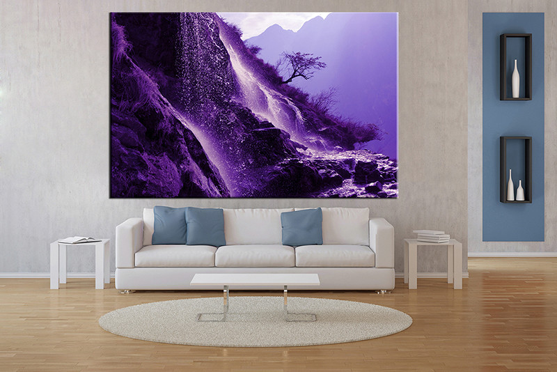 1 Piece Huge Pictures, Living Room Multi Panel Canvas, Mountain Purple  Canvas Art Prints