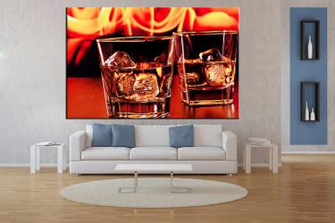 living room wall art,1 piece wall art, wine multi panel art, wine orange large pictures, wine glass photo canvas