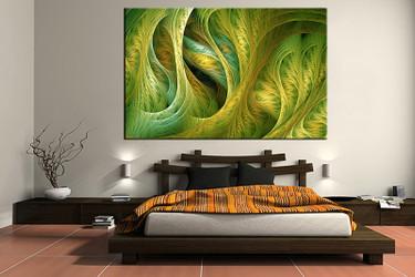 1 piece canvas art print, bedroom art, green modern multi panel art, modern huge pictures, modern artwork