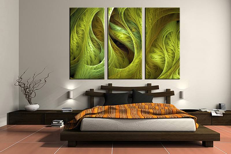 High Quality Bedroom Decor,3 Piece Canvas Wall Art, Green Modern Multi Panel Canvas,  Modern