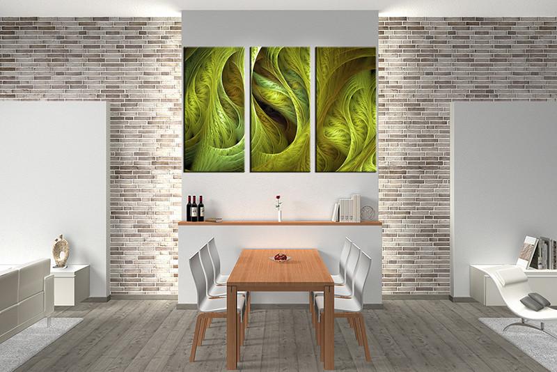 Wall Decor Canvas triptych green modern canvas photography