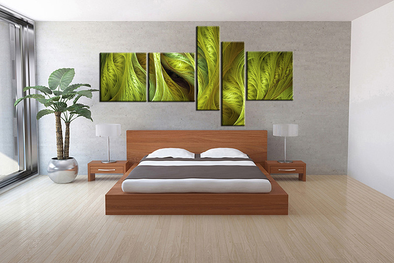 5 Piece Canvas Wall Art, Bedroom Huge Canvas Art, Modern Large Pictures,  Green