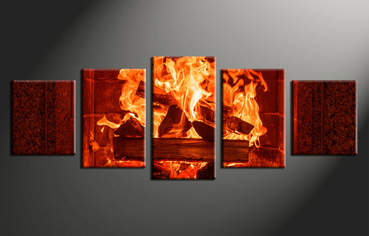 Wall Art Canvas Red : Piece fireplace red modern canvas wall art