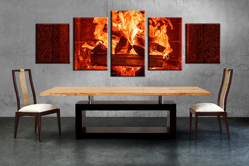 5 Piece Fireplace Red Modern Canvas Wall Art