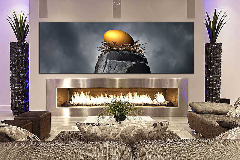 1 Piece Wall Art Living Room Modern Artwork Grey Pictures Canvas