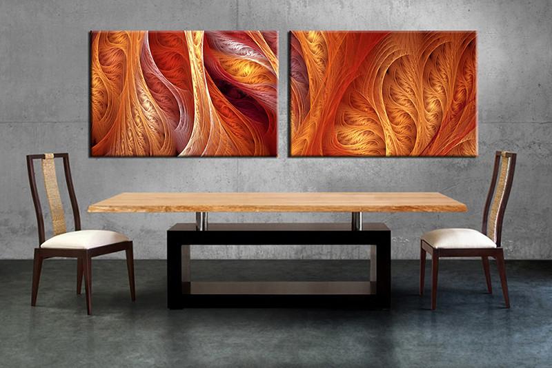 2 Piece Brown Modern Canvas Wall Decor