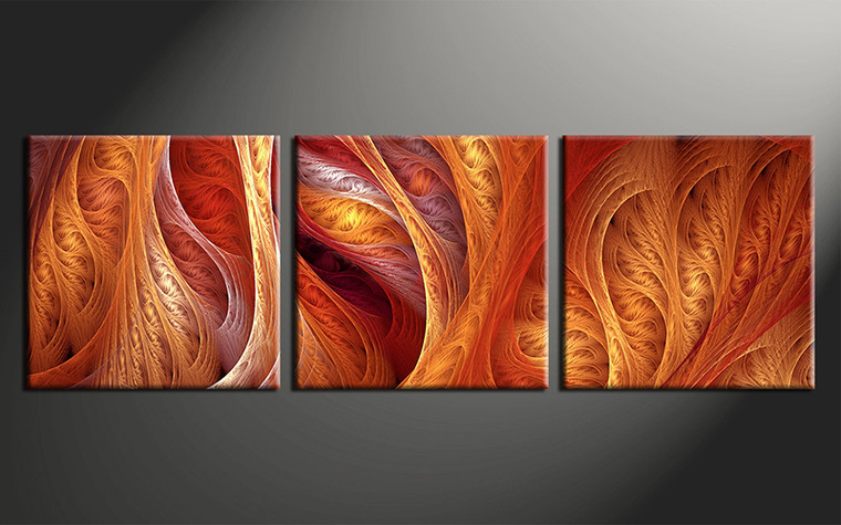 3 piece modern brown canvas photography for Bedroom designs orange and brown
