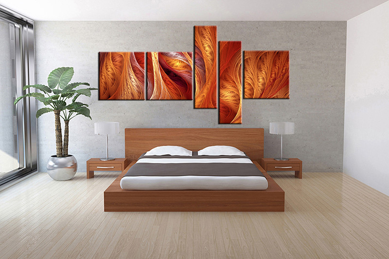 5 piece canvas wall art bedroom modern artwork brown pictures print contemporary art p4 bedroom