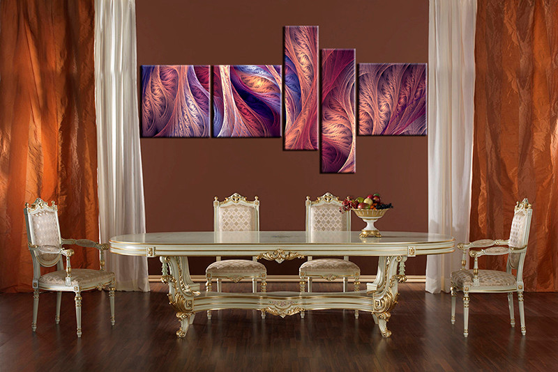5 Piece Brown Canvas Modern Wall Art