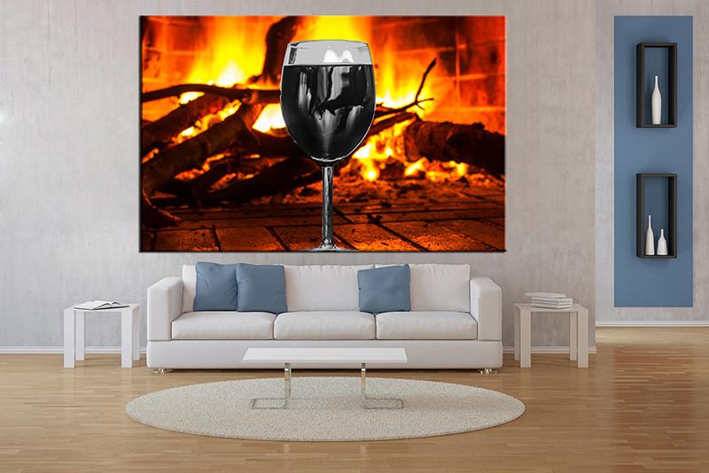 1 Piece Wall Art, Living Room Art, Orange Wine Multi Panel Art, Fireplace Part 74