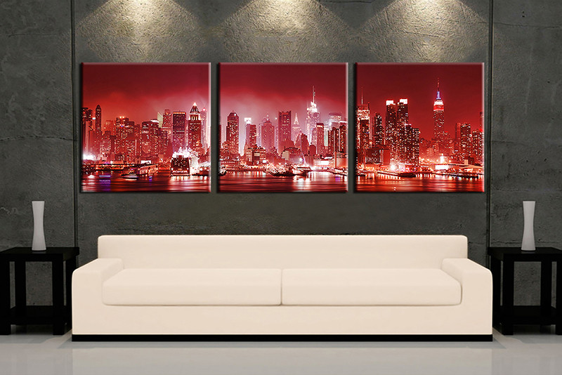 3 Piece Red City Multi Panel Canvas