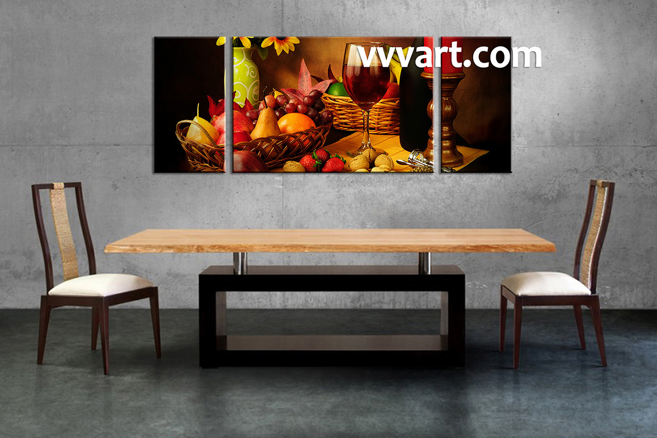 1 piece brown canvas wine wall art for Dining room posters