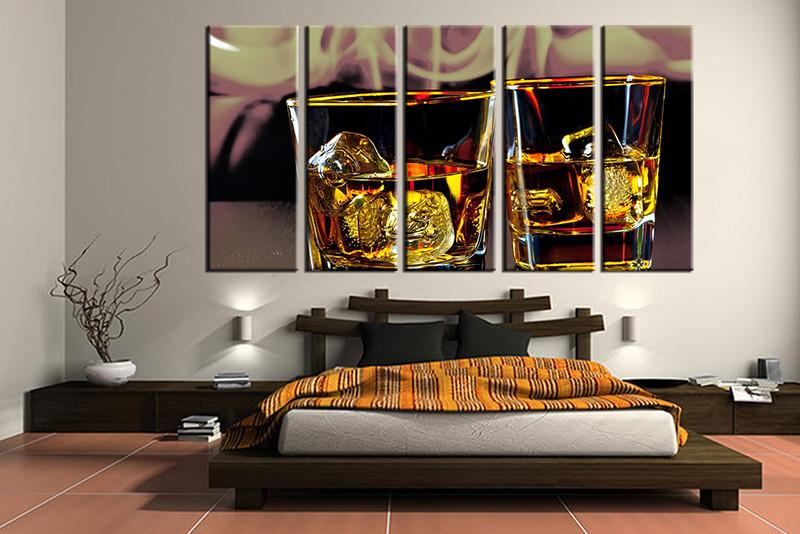 Wine Wall Art 5 piece wine yellow photo canvas