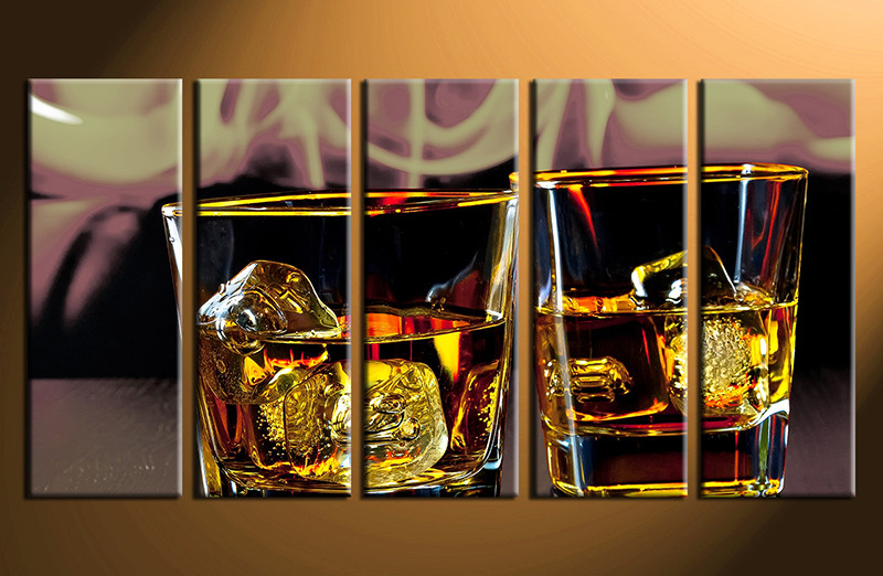 5 piece canvas photography home decor art wine ice glass huge pictures wine