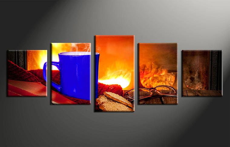 5 Piece Panoramic Orange Canvas Cup Art Kitchen Home Decor