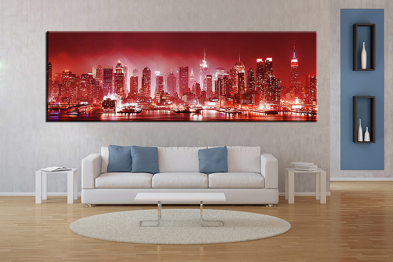 Cityscape Wall Art 1 piece city red canvas print