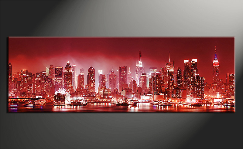 Red Canvas Wall Art 1 piece city red canvas print