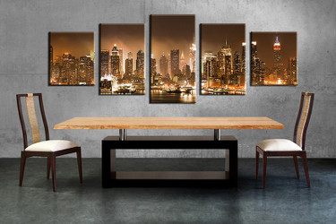 5 piece large pictures, dining room wall decor, city group canvas, city artwork, brown city wall art