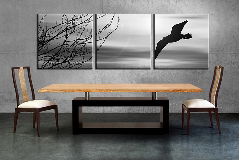 3 Piece Canvas Wall Art, Wildlife Canvas Print, Blue Wildlife Art, Dining  Room