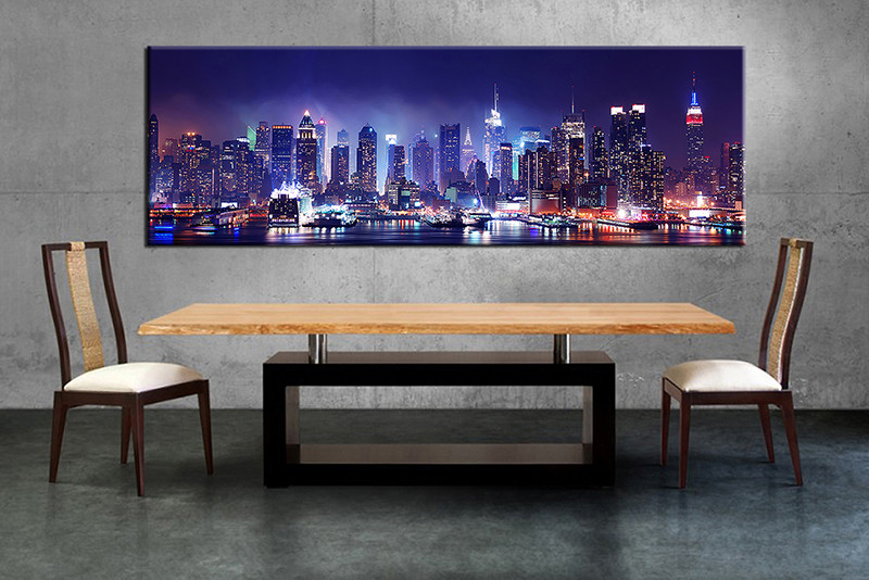 Dining room wall decor 1 piece wall art black and white city multi panel