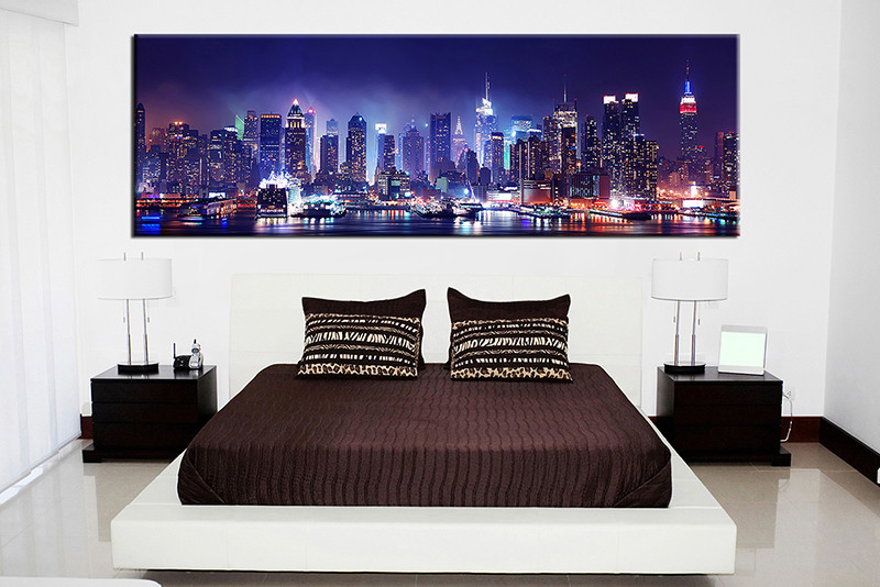 Bedroom wall art 1 piece multi panel art city wall art city artwork
