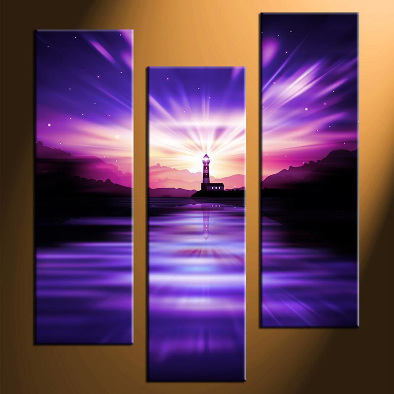 3 piece canvas photography home decor art light house city canvas art print