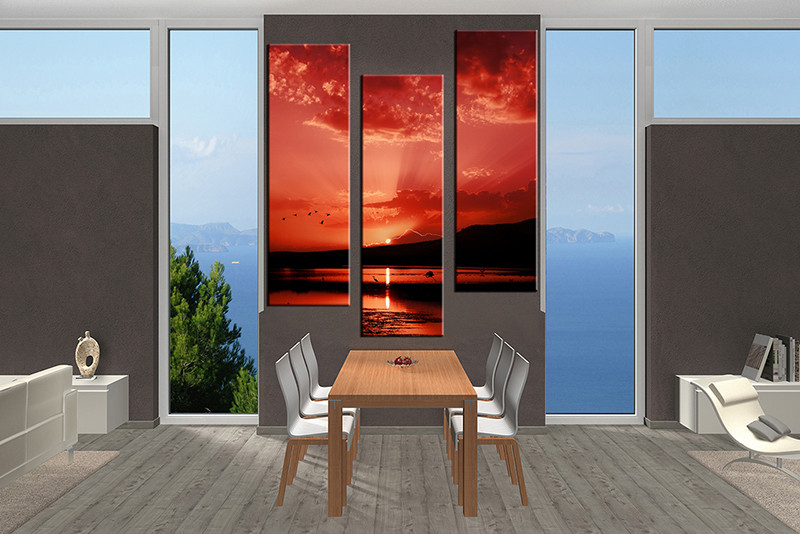 3 Piece Multi Panel Art, Dining Room Canvas Photography, Ocean Red Wall Art,