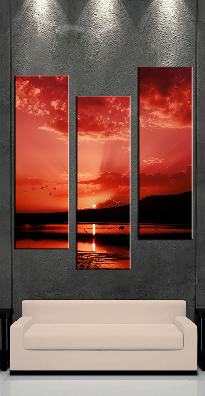 3 piece landscape sunrise red multi panel art for Buy large canvas prints