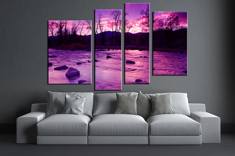Purple Canvas Wall Art 4 piece purple group canvas scenery large pictures