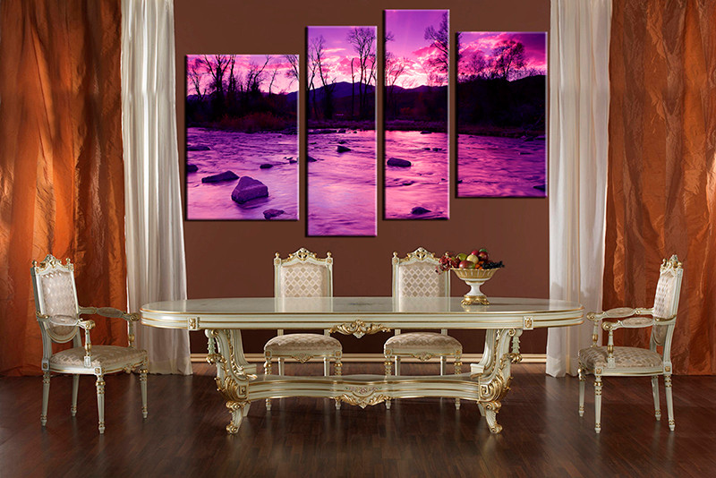 4 Piece Large Pictures Dining Room Wall Decor Scenery Group Canvas Artwork