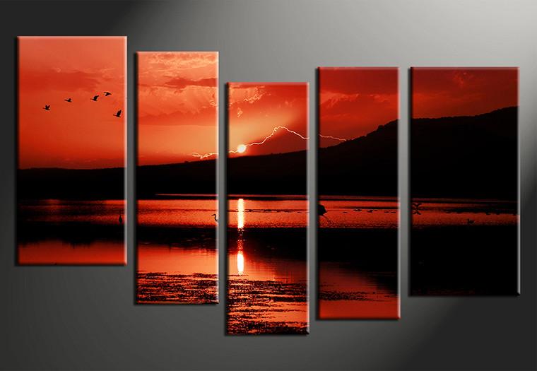 5 Piece Sunrise Landscape Red Group Canvas