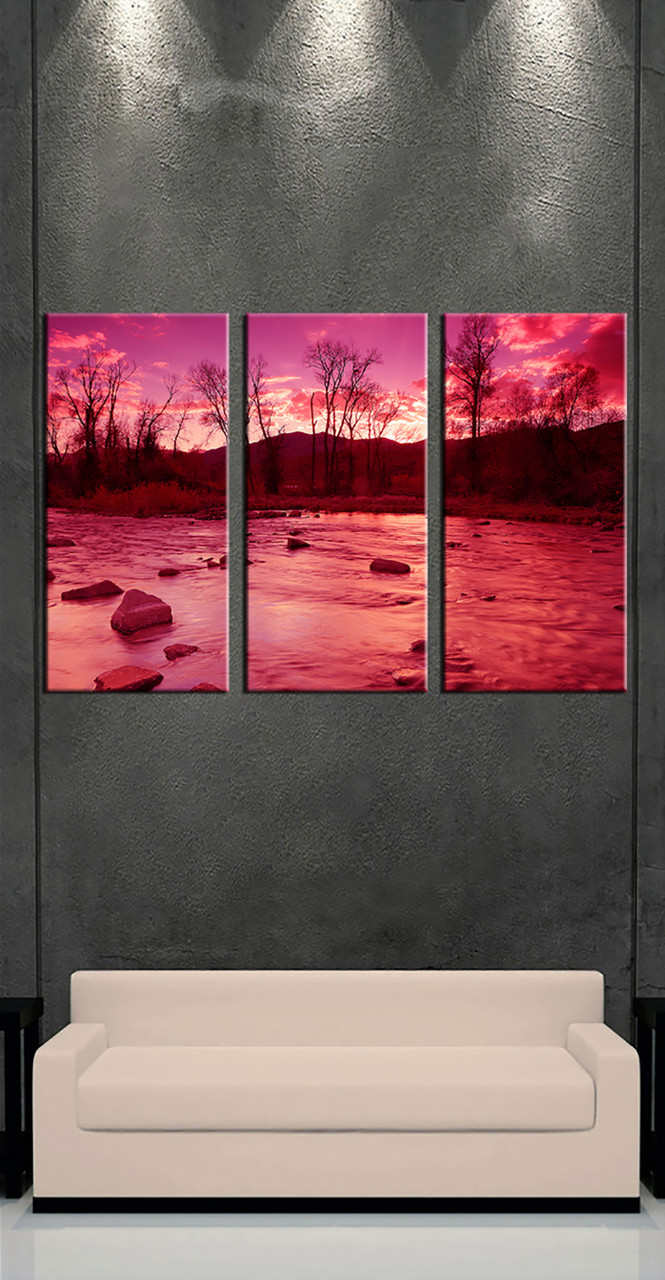 3 Home Decor Trends For Spring Brittany Stager: 3 Piece Scenery River Red Multi Panel Canvas