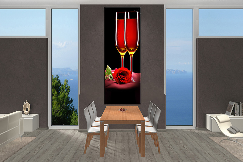 1 piece red wine canvas print. Black Bedroom Furniture Sets. Home Design Ideas